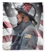 Portrait Of A Fire Fighter Fleece Blanket