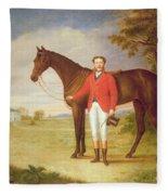 Portrait Of A Gentleman With His Horse Fleece Blanket