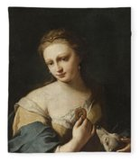 Portrait Of A Girl With A Dog Fleece Blanket