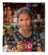 Portrait Of A Khmer Girl - Cambodia Fleece Blanket