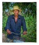 Portrait Of A Khmer Rice Farmer - Cambodia Fleece Blanket