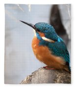 Portrait Of A Kingfisher Fleece Blanket