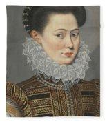 Portrait Of A Lady Head And Shoulders In A Lace Ruff Fleece Blanket
