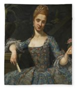 Portrait Of A Lady In An Elaborately Embroidered Blue Dress Fleece Blanket