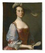Portrait Of A Lady In Van Dyck Dress Fleece Blanket