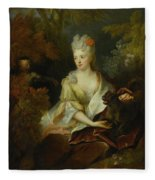 Portrait Of A Lady Seated In A Landscape With Her Pet Dog And A Monkey Fleece Blanket