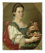 Portrait Of A Lady With A Flower Basket Fleece Blanket
