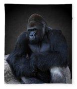 Portrait Of A Male Gorilla Fleece Blanket