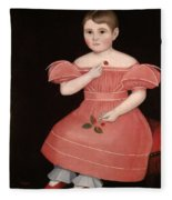 Portrait Of A Rosy Cheeked Young Girl In A Pink Dress Fleece Blanket