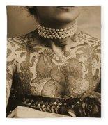 Portrait Of A Tattooed Woman Fleece Blanket