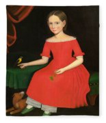 Portrait Of A Winsome Young Girl In Red With Green Slippers Dog And Bird Fleece Blanket