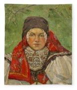 Portrait Of A Woman In A Red Scarf Fleece Blanket
