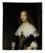 Portrait Of A Woman - Possibly Maria Trip Fleece Blanket