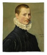 Portrait Of A Young Gentleman Head And Shoulders At The Age Of 23 Fleece Blanket