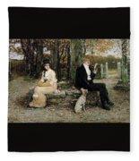 Portrait Of A Young Girl Adolphe William Bouguereau Fleece Blanket