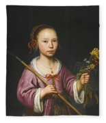 Portrait Of A Young Girl As A Shepherdess Holding A Sprig Of Flowers Fleece Blanket