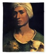 Portrait Of A Young Man With A Dog And A Cat Fleece Blanket
