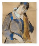Portrait Of A Young Woman Combing Her Hair Fleece Blanket