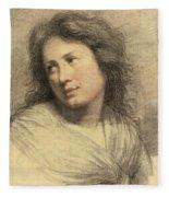 Portrait Of A Young Woman Looking Over Her Shoulder Fleece Blanket