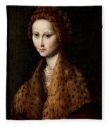 Portrait Of A Young Woman Wearing A Robe With A Fur Collar Fleece Blanket