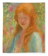 Portrait Of A Young Women In Garden 1912 Fleece Blanket