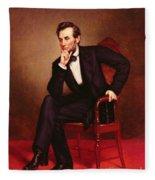 Portrait Of Abraham Lincoln Fleece Blanket