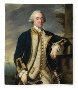 Portrait Of Admiral Sir Hugh Palliser 1st Bart Fleece Blanket