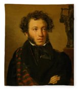 Portrait Of Alexander Pushkin 1827 Fleece Blanket