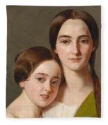 Portrait Of Alexandrine Pazzani And Her Cousin Caroline Von Saar According To Family Tradition Fleece Blanket