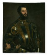 Portrait Of Alfonso D'avalon -  Marquis Of Vasto - In Armor With A Page Fleece Blanket