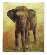 Portrait Of An Elephant Digital Painting With Detailed Texture Fleece Blanket