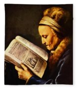 Portrait Of An Old Woman Reading Fleece Blanket