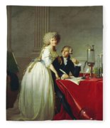 Portrait Of Antoine-laurent Lavoisier And His Wife Fleece Blanket
