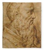 Portrait Of Baccio Bandinelli In Profile To The Right Fleece Blanket