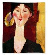 Portrait Of Beatrice Hastings Before A Door 1915 Fleece Blanket
