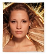 Portrait Of Beautiful Woman Face With Glowing Golden Blond Hair Fleece Blanket