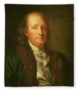 Portrait Of Benjamin Franklin Fleece Blanket