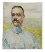 Portrait Of Brigadier Jozef Pilsudski Fleece Blanket