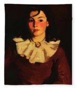 Portrait Of Cara In A Red Dress Fleece Blanket