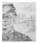 Portrait Of Caspar Tower And A River Landscape 1520 Fleece Blanket