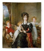 Portrait Of Elizabeth Lea And Her Children Fleece Blanket