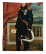 Portrait Of French Politician And Soldier Etienne Maurice Gerard Fleece Blanket