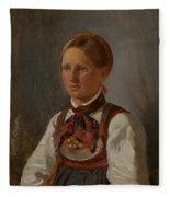 Portrait Of Gunild Olsdatter From Tinn Fleece Blanket