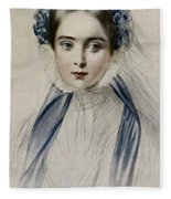 Portrait Of Her Majesty Queen Victoria As A Young Woman By Emile Desmaisons Fleece Blanket