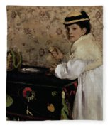 Portrait Of Hortense Valpincon As A Child Fleece Blanket by Edgar Degas