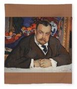 Portrait Of Ivan Morozov 1910 Valentin Serov Fleece Blanket