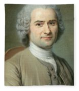 Portrait Of Jean Jacques Rousseau Fleece Blanket