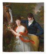 Portrait Of Jean-louis Gustave D'hautefort And His Sister Marie-therese-thais D'hautefort Fleece Blanket