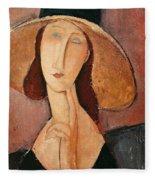 Portrait Of Jeanne Hebuterne In A Large Hat Fleece Blanket