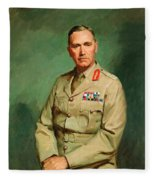 Portrait Of Lieutenant - General The Honorable Sir Edmund Herring Fleece Blanket
